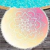 LIWIN Ultra Suave Mandala, Toalla de Playa Redonda, Yoga Impresa con Borla, Manta, Picnic, Microfibra India, Estera, 150 cm, Moda (Color : 7, Tamaño : 150CM)