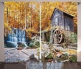 Waple Cortinas opacas ojete para sala de estar Cortina de cascada, rueda hidráulica histórica y cascada paisaje natural de otoño al aire libre 280*180cm Opaca Cortina para Habitación Térmica Aislante