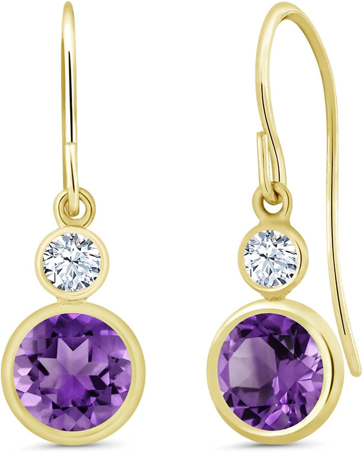 1.72 Ct Round Purple Amethyst 14K Yellow gold Earrings