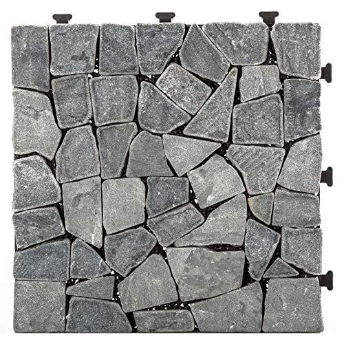 HORI® Terrassenfliesen steinoptik I Klick Bodenfliesen aus Naturstein I Modell: Steine grau fein