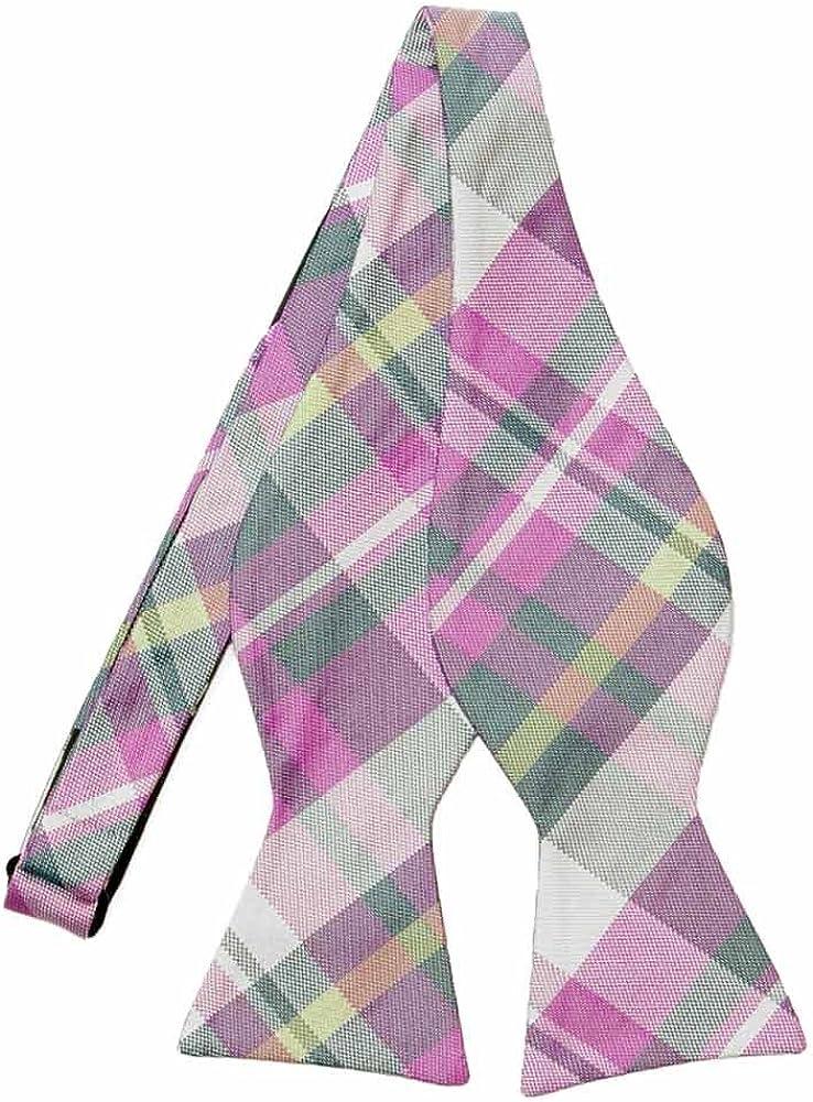 TieMart Regent Morris Neckwear Actor Plaid Silk Self-Tie Bow Tie