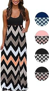 Women's Boho Chevron Striped Print Summer Beach Sleeveless Tank Long Maxi Party Dress