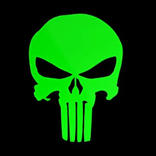 Erreinge Aufkleber prespaced Fluogrün 12Cm   Punisher Skull Skull   Sticker Aufkleber Wandvinyl Aufkleber Laptop Auto Moto Helm Camper