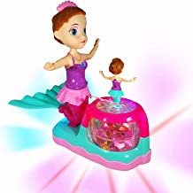 ANJ Kids Battery Operated Mermaid Toys for Girls Age 4 -6; Dual Beautiful Mermaid Doll Set; Rotating, Dynamic Flashing, Bump N Go Running, and Lovely Music; Best Mermaid Toys for Toddlers