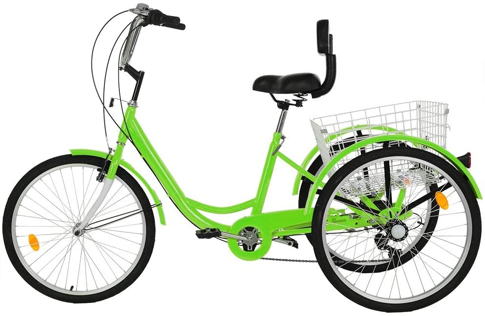 Shopping Picnics Exercise 7 Speed Adult Trike Womens 24Inch 3 Wheel Bikes Bicycles with Large Basket for Recreation Lomelomme Adult Tricycle Cruise Trike