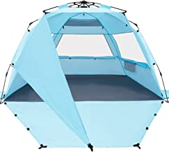 KO-ON XL Beach Tent Sun Shelter Pop Up، Easy Setup Beach Shade for 3-4 person with UPF 50 protection، Shadra اضافی در یک طرف، طبقه توسعه یافته