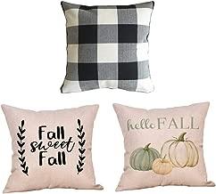 Jartinle 3 Pack Black and White Buffalo Check Plaid Decorative Fall Farmhouse Throw Pillow Case Pumpkin Home Room Sofa Car Cushion Cover
