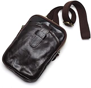 Men's Shoulder Bag Oil Wax Leather Handbag First Layer Cowhide (Color : Coffee, Size : S)