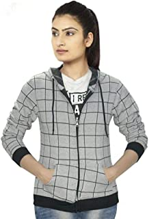 Ezee Sleeves Women's Cotton Hoodies | Full Sleeves Checks Hoodie for Women | Hooded Jacket for Women.