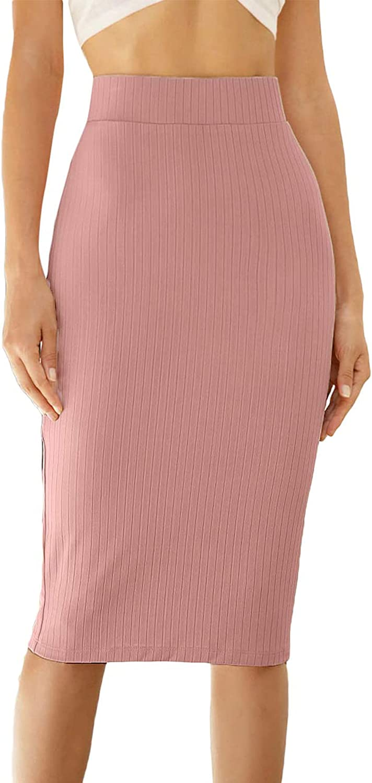 Milumia Women's Elegant Ribbed Knit High Waist Office Work Bodycon Pencil Skirt