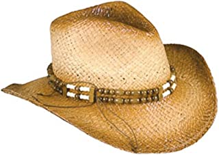 Rhode Island Novelty New 2-Tone Woven Cowboy Cowgirl Hat with Beaded Band One Size