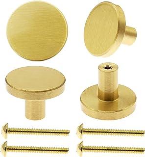 Metal Cabinet Door Knobs Brass Cabinet Knobs for Kitchen Modern Drawer Knobs Round Gold Dresser Knobs for Cupboard, Bathro...
