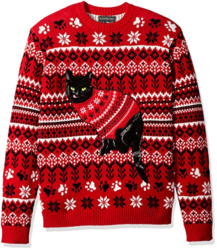 Blizzard Bay Men's Ugly Christmas Sweater Cat, Black/Red, X-Large