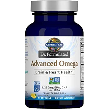 Garden of Life Dr. Formulated Advanced Omega Fish Oil - Lemon, 1,290mg EPA, DHA + DPA in Triglyceride Form, Single Source Omega 3 Supplement for Ultimate Brain & Heart Health, Non-GMO, 60 Softgels