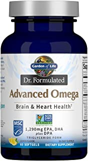 Garden of Life Dr. Formulated Advanced Omega Fish Oil - Lemon, 1,290mg EPA, DHA + DPA in Triglyceride Form,...
