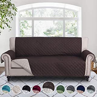 RHF Reversible Sofa Cover, Couch Covers for 3 Cushion Couch, Couch Covers for Sofa, Couch Cover, Sofa Covers for Living Room,Couch Covers for Dogs, Sofa Slipcover,Couch Protector(Sofa:Chocolate/Beige)