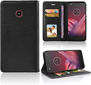 Made for ZTE N818S / Sapphire 4G Qlink Wireless and Lifeline Premium PU Synthetic Leather Flip Folio Credit Card Slot Wallet Folding Case with Built-in Kickstand [for N818s ONLY] (Black)