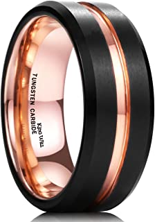 King Will Duo Mens 7mm 8mm Tungsten Carbide Ring Rose Gold/Yellow Gold/Blue/Plated Intermediate Groove Wedding Band