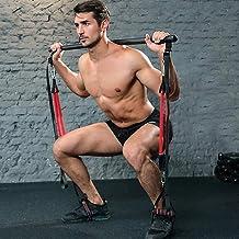 Professionele Pilates Bar Kit met 6 verwijderbare elastische verstelbare weerstandsband Pilates Stick met voetlus voor yog...