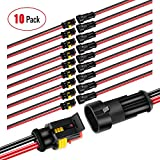 Nilight 2Pin Way 16AWG Waterproof Wire 1.5mm Series Terminal Connector-10 Pack,2 Years War...