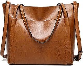女性ハンドバッグラージバッグレトロトート??ハンドバッグファッション女性ショルダーバッグ (Color : Brown)