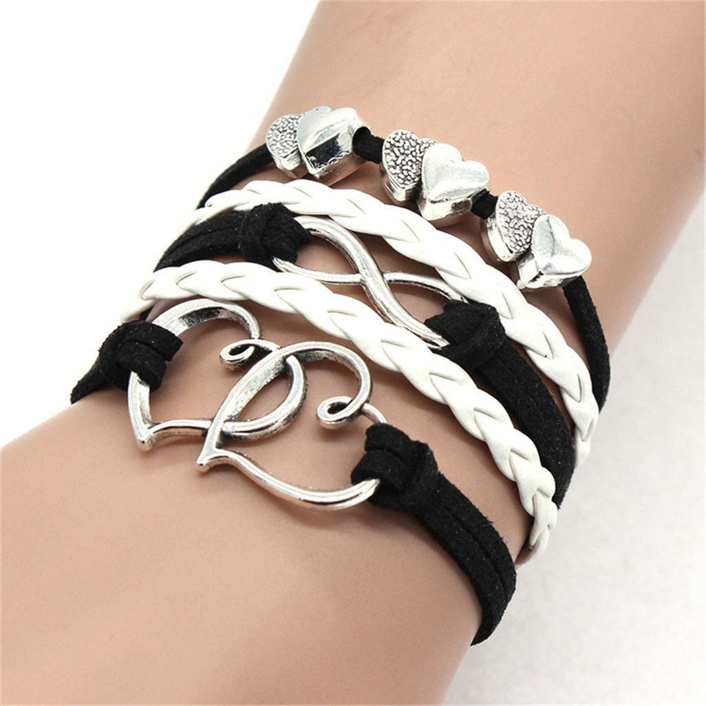 WEILYDF 5 PCS/Set Double Hearts Wrap Bracelets Leather Rope Wristband Handmade Bangle Jewelry Accessories Gift,Black