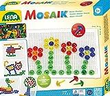 Lena 35602 Steckmosaikspiel mit 80 Steckern, transparente Mosaiksteine mit Ø von 15 mm, Mosaikspiel mit Steckvorlagen, Stiftplatte 21 x 16 cm, Steckspiel für...