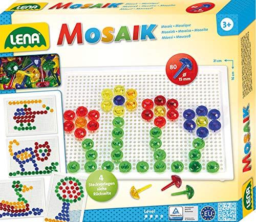 Lena 35602 Steckmosaikspiel mit 80 Steckern, transparente Mosaiksteine mit Ø von 15 mm, Mosaikspiel mit Steckvorlagen, Stiftplatte 21 x 16 cm, Steckspiel für Kinder ab 3 Jahre, Mosaik Bastelset