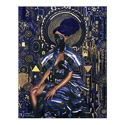 Cuadro En Lienzo Cuadro Moderno del Arte de la Pared de la Mujer Africana,60x80cm,Pintura sin Marco