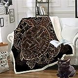 Schildkröte Wohndecken Kuscheldecken Tagesdecke Fleecedecke Sofadecke Schlafdecke Kuschelige Decke für Kinder & Erwachsene Schwarz 130x150cm