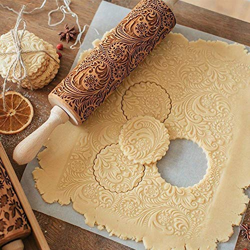 """SeaHome Wooden Rolling Pins with Flower Embossing, Paisley Embossed Natural Wood Carved Snowflake Vine Plant Engraved Rolling Pin for Christmas Baking Cookies, Biscuits (35cm / 13.7"""")"""