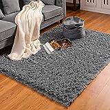 BAYKA 35 Grey Machine Washable Fluffy Indoor Ultra Soft Shag Area Bedroom, Non-Slip Floor Carpet for Kids Home Decor Nursery Rug 4x5.3 Feet, 4' x 5.3