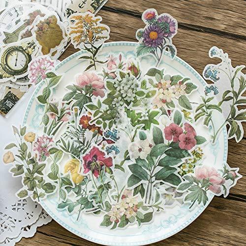 180pcs Pflanzenblumen Schmetterling Scrapbook Aufkleber Set, Großes Design PET Transparente DIY Dekorative Sticker Sammlung für Scrapbooking, Kunst, DIY Handwerk, Bullet Journals
