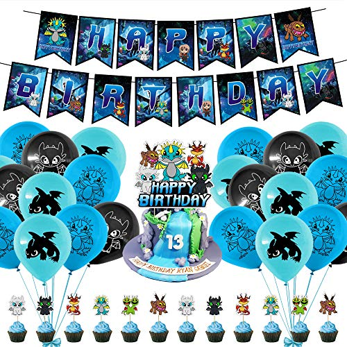 38 Pcs How To Train Your Dragon Birthday Party Decorations Set,1 Happy Birthday Banner Garland, 1 Cake Topper, 12 Cupcake Toppers, 24 Balloons for Kids Family Birthday Party Supplies