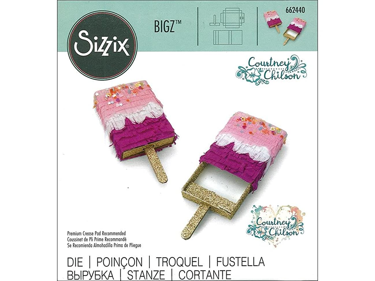 Sizzix Mini Ice Pop Box by Courtney Chilson Bigz Die, Multicolor