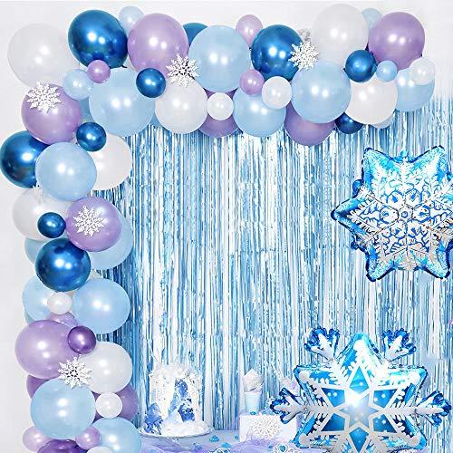 AYUQI Ballon Girlande Luftballon Girlande kit, Lila Blaue Weiße & Blaue Metallic Luftballons Latex Ballons Party Ballons Party Ballons für Geburtstag Hochzeit Mädchen Party Dekoration Versorgt