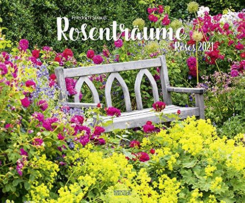 Rosenträume 2021: Großer Wandkalender. Foto-Kunstkalender Rosen-gärten. Querformat 55 x 45,5 cm