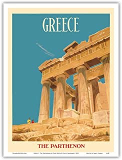 Greece - The Parthenon - Temple of Athena - Vintage World Travel Poster by Dick Negus & Philip Sharland c.1954 - Master Art Print - 9in x 12in
