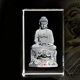XINDAM 3D Buddha Paperweight(Laser Etched) in Crystal Glass Cube(No Included LED Base)(3.1x2x2 inch)