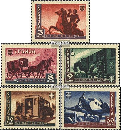 Prophila Collection Serbia (alemán.ocupación.2.Guerra Mundial.) 94-98 (Completa.edición.) 1943 Serbia Correos (Sellos para los coleccionistas) vehículos sobre raíles / funicular