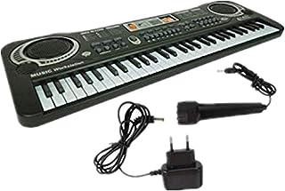 JSPOYOU 61 Keys Digital Music Electronic Keyboard Key Board Gift Electric Piano Gift EU Black