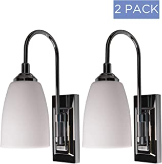 Westek Battery Operated Wall Sconces, 2 Pack With Chrome Finish - Indoor Wireless Wall Sconce Light Fixture for Room Lighting - Easy Installation, On/Off Switch - Soft Warm Glow, 70 Lumens - LPL780C
