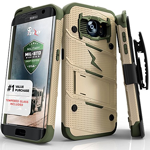 Samsung Galaxy S7 Edge Case, Zizo [Bolt Series] w/ [Galaxy S7 Edge Screen Protector] Kickstand...