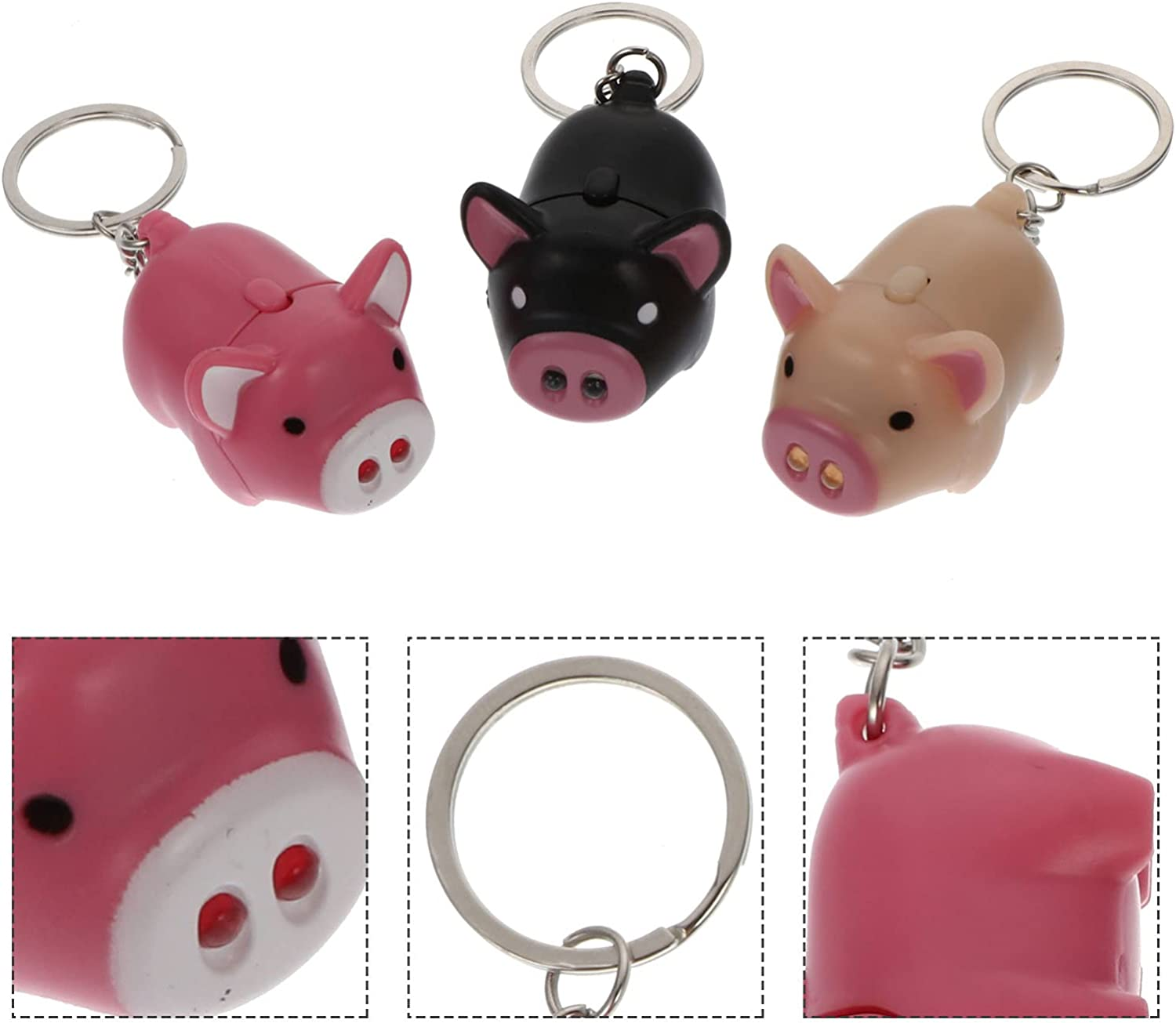 VOSAREA 3pcs Pig Keychain Animal Keychain Pig Keyring with LED Light Sound Squeaky Voice Toy for Gifts Cars Purses Handbag Decor (No Battery)