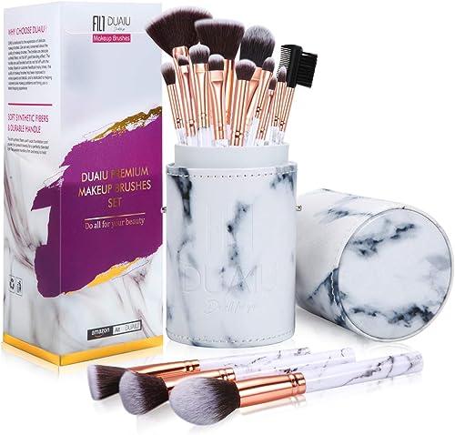 Pennelli Make Up DUAIU Set di 15pcs pennelli trucco Pennelli per trucco professionali in marmo da 15 pezzi per in pol...