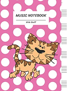 Music Notebook Wide Staff: Innocent Kitten Cat White Dot on Pink/Blank Music Sheet Notebook,Big Staff Paper,Music Manuscri...