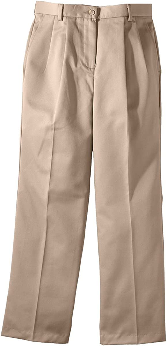 Ed Garments Women's Two Front Pockets Pleated Pant, TAN, 4 28