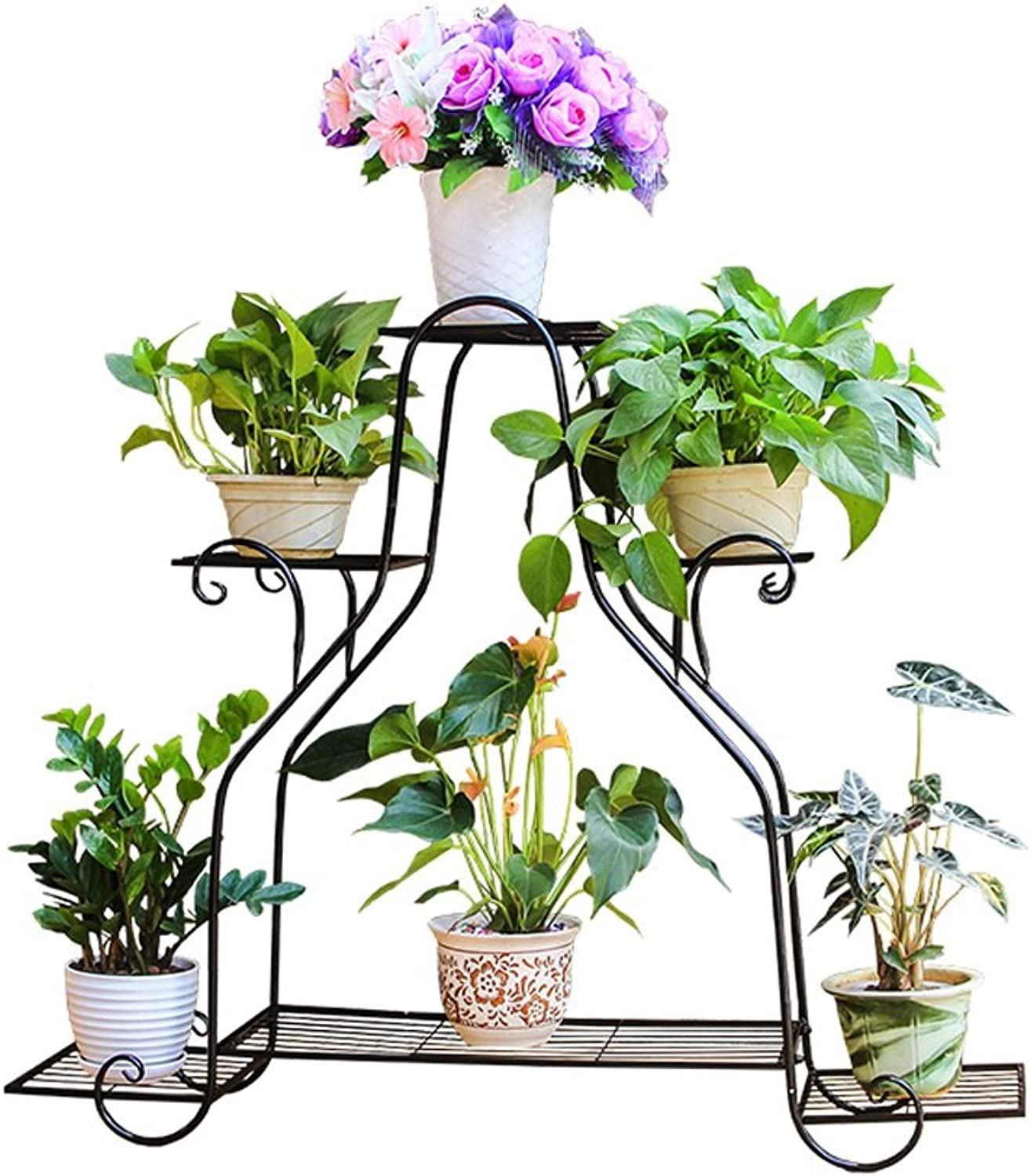 MBD Flower Shelf,Multi-Layer Wrought Iron Floor Pot Rack Indoor Living Room Balcony Green Lugoldu Meat Flower Shelf Outdoor Multifunctional Plant Stairs (color   Black, Size   Small)