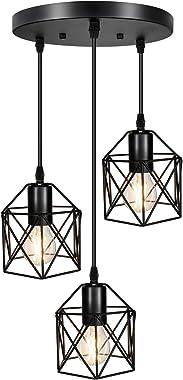 Industrial 3-Light Pendant Lighting, Adjustable Hanging Light Fixtures, Vintage Farmhouse Pendant Light with Metal Caged E26