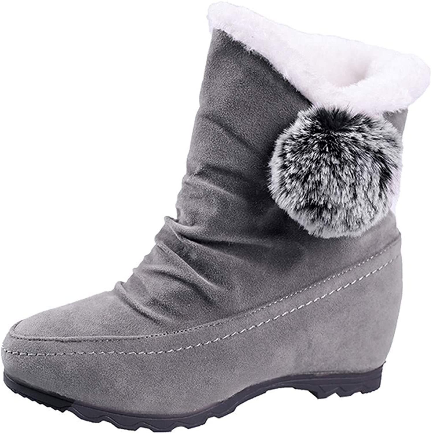JaHGDU Women Suede Hairball Round Toe Wedges shoes Fashion Keep Warm Slip On Snow Boots Leisure Elegant Cosy Wild Tight Super Casual Quality for Womens